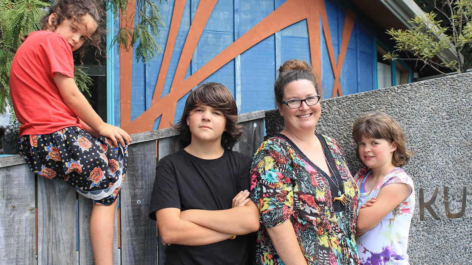 From left: Willoughby (7), Baxter (12) and Isabella (11) with mum Jess