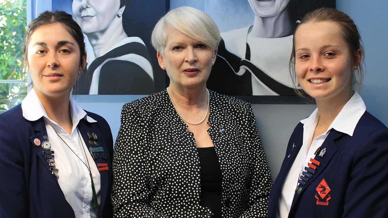 Deputy Head Girl Gabrielle Palmer, left; Head Girl Emma Cameron, right.