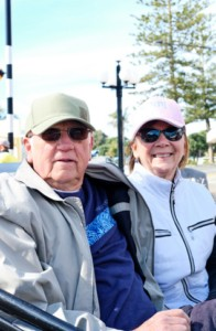 Gail and Pamela (Orange, California), have arrived back from a ride through Ahuriri in a vintage car. Gail says the cruise ship is just a means of transport to him – a way to see the country, meet new people, enjoy the town. Pamela says everyone here is so friendly, welcoming.