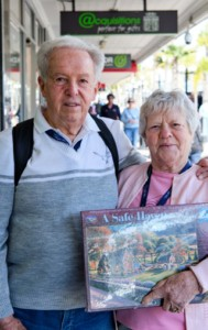 Michael and Marjorie (Adelaide, originally Manchester, UK) are celebrating their 60th wedding anniversary. Marjorie has just bought herself a jigsaw puzzle. They say there is lots to do on board the cruise ship.